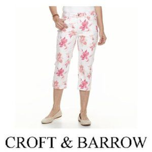 Croft & Barrow Womens Pink White Jean Capris Sz 6